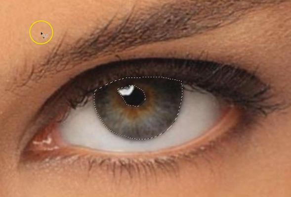Creare una selezione per l'occhio destro